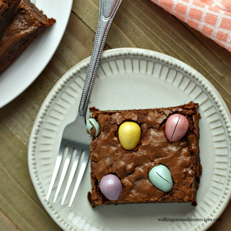 Brownies with Candy Eggs on White Plate FEATURED photo
