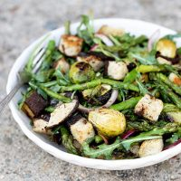 Roasted Asparagus and Brussels Sprout Panzanella Salad