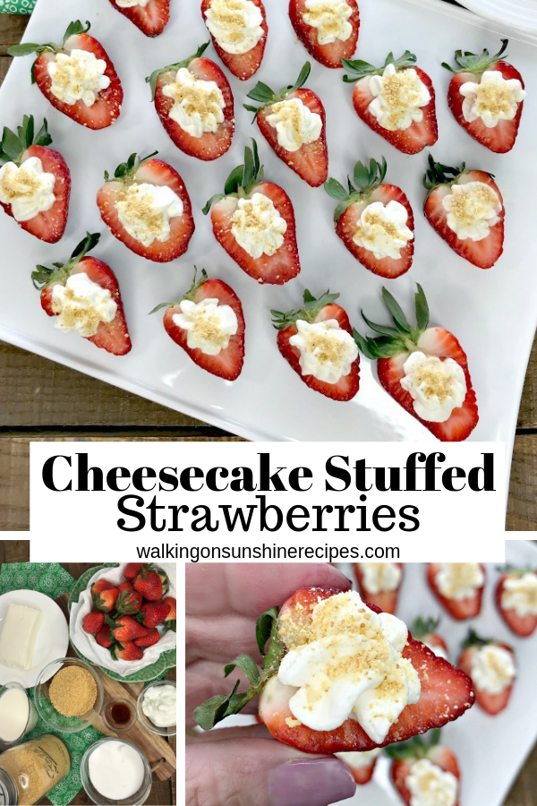 Cheesecake Stuffed Strawberries on white platter with ingredients.