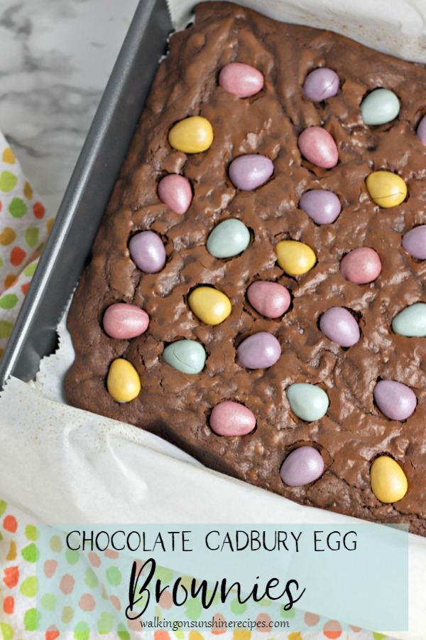 Chocolate Cadbury Egg Brownies in baking pan from Walking on Sunshine Recipes