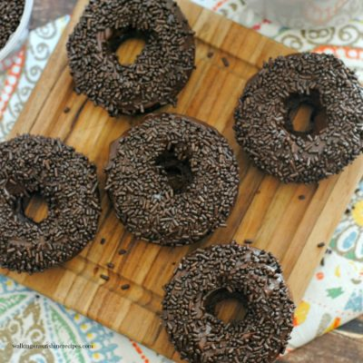 Baked Chocolate Donuts from a Cake Mix with Sprinkles