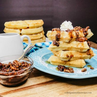 Homemade Fluffy Waffles with Pecan Praline Topping