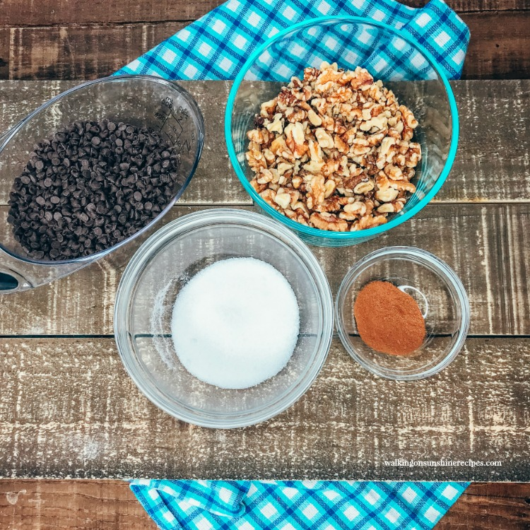 Ingredients for Cinnamon Sugar Streusel Layer with walnuts and mini chocolate chips
