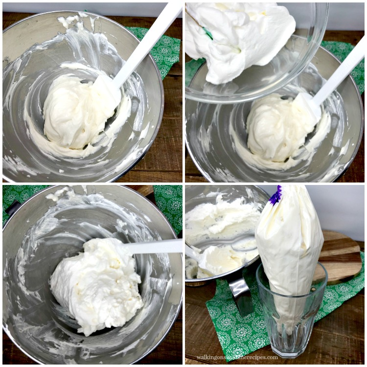 Making the Cream Cheese Whipped Cream filling for Cheesecake Stuffed Strawberries