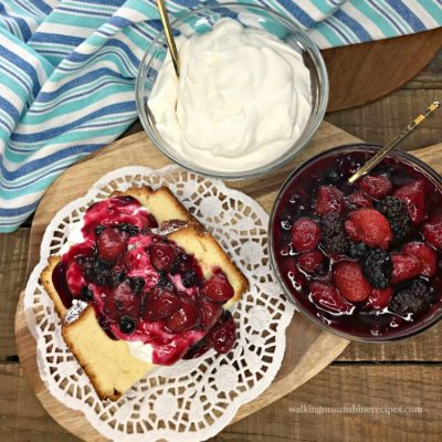 Mixed Berry Compote over Pound Cake