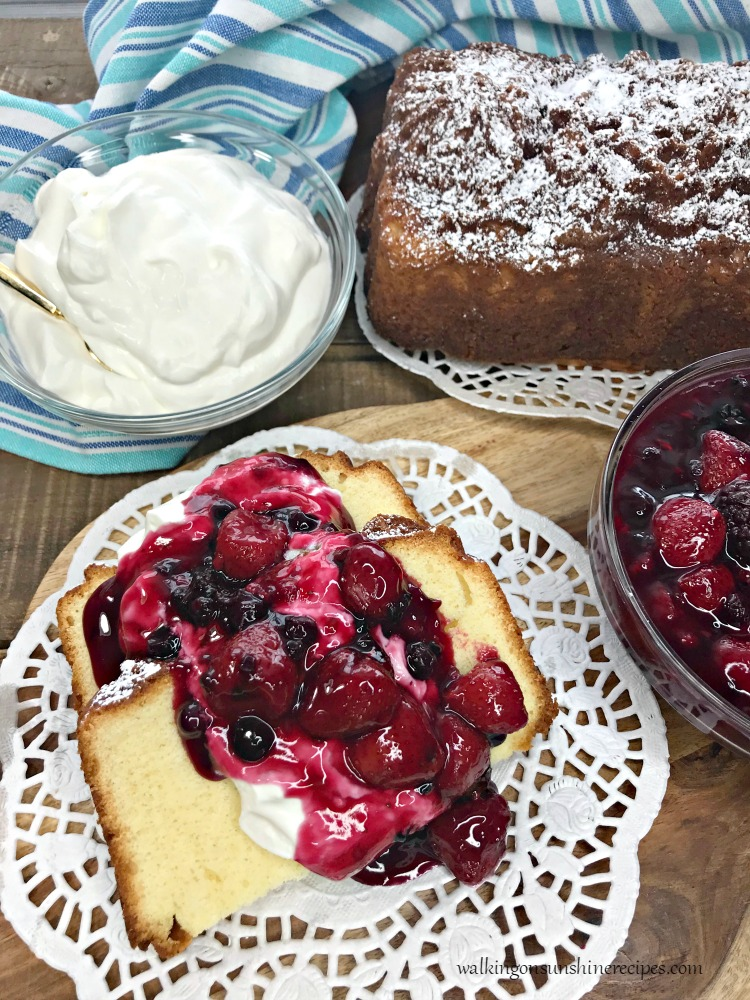 Pound Cake with Mixed Berry Compote and Fresh Whipped Cream from WOS