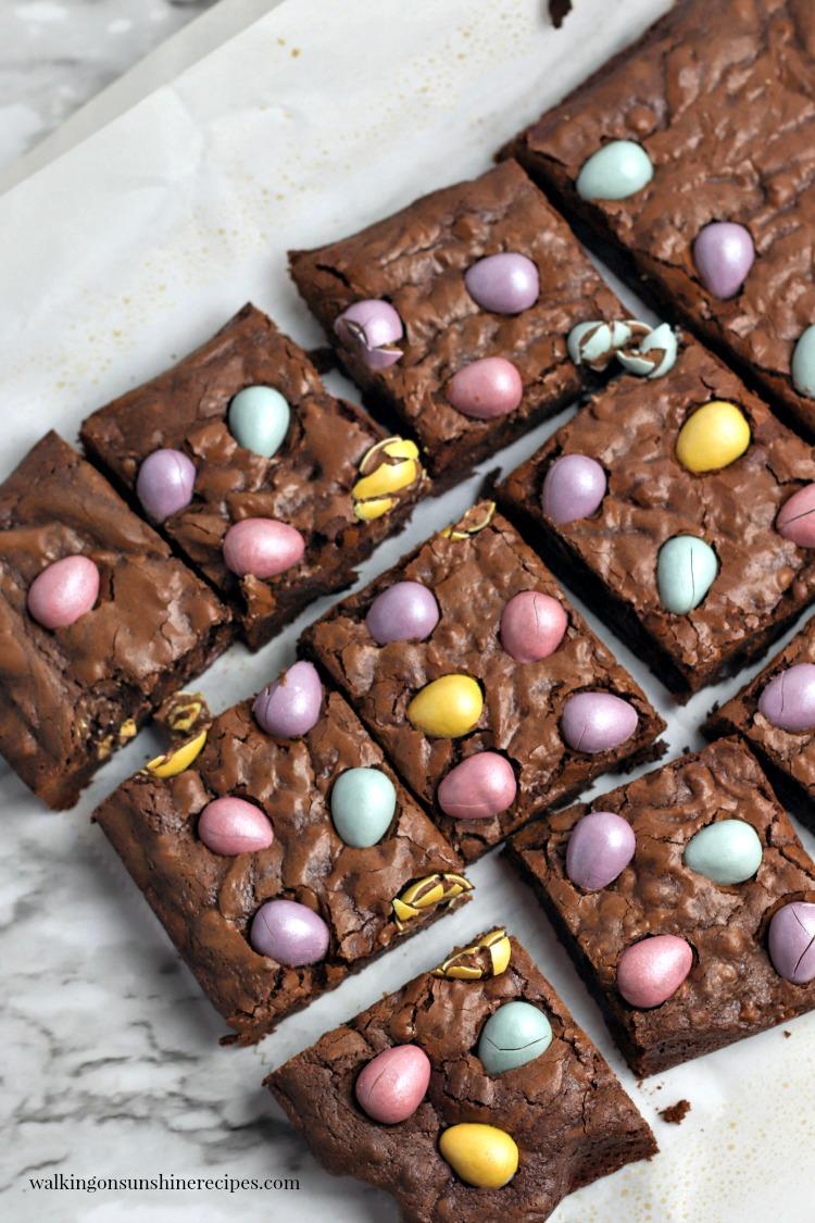 Sliced Chocolate Cadbury Egg Brownies