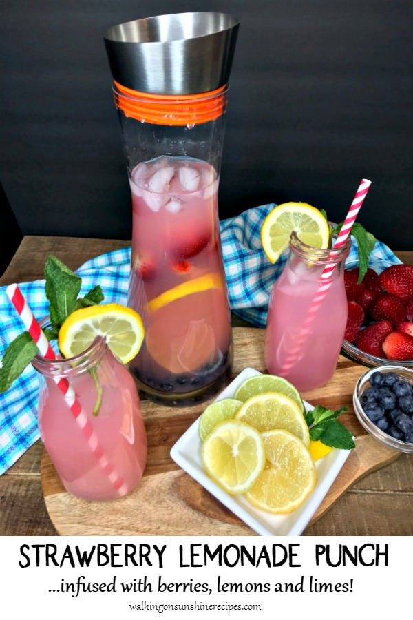 Strawberry Lemonade Punch infused with Berries, Lemons and Limes.