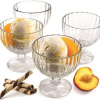 Clear Glass, Ice Cream Dessert Bowls - Set of 4-9 Oz.