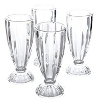 Embossed Glass 12 oz Milk Shake Glass (4 Pack), Clear