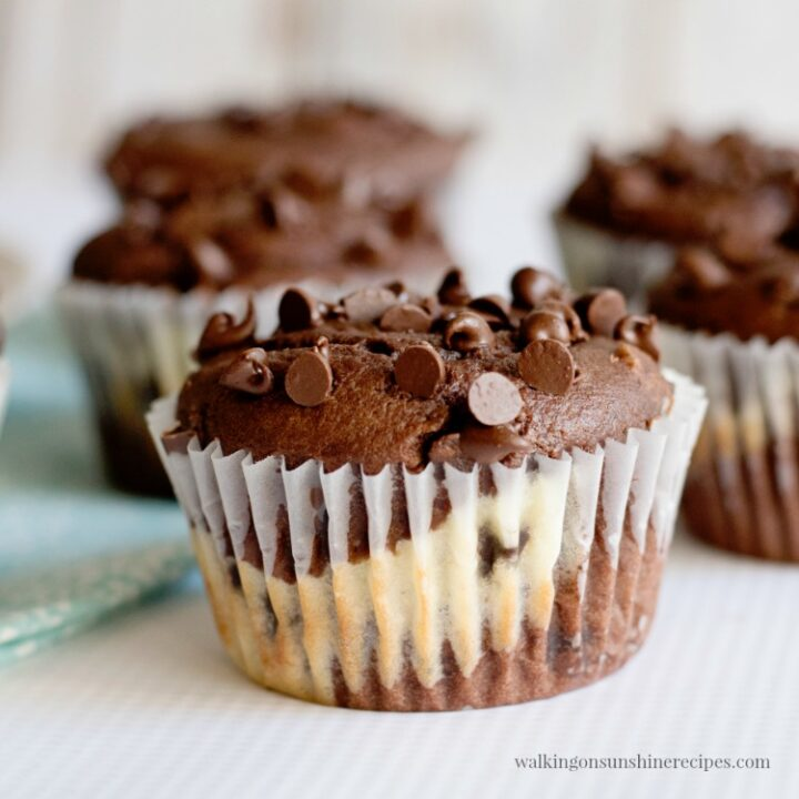 Cheesecake Chocolate Chip Muffins or Black Bottom Muffins from Walking on Sunshine Recipes
