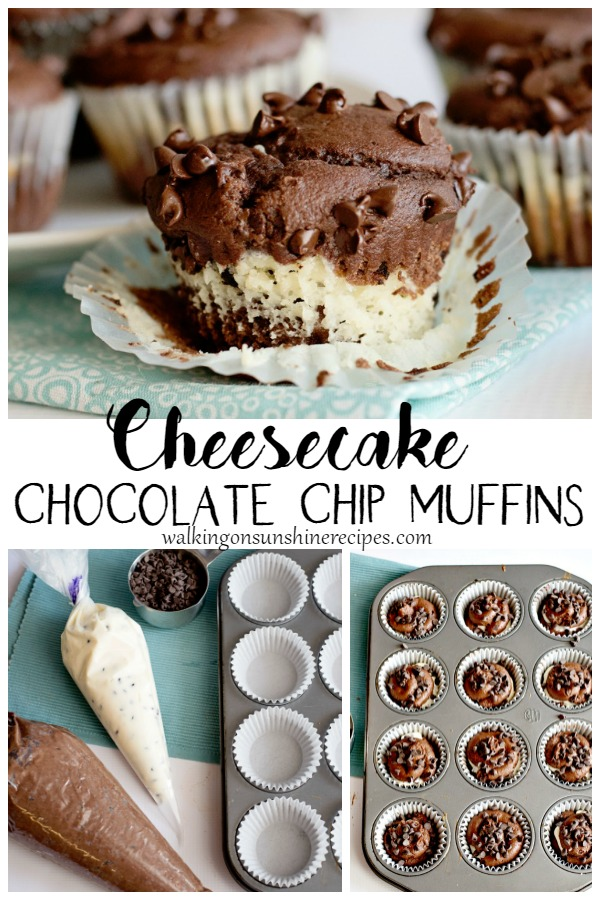 Cheesecake Chocolate Chip Muffins unwrapped and in muffin pan.