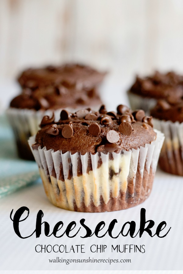 Closeup Cheesecake Chocolate Chip Muffins