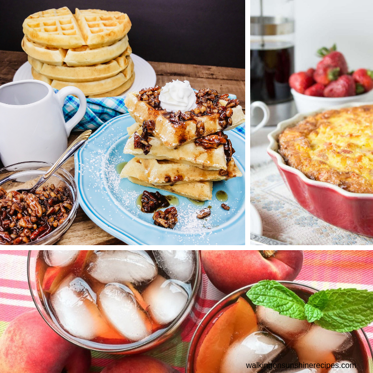 Waffles, peach iced tea and breakfast casserole brunch recipes.