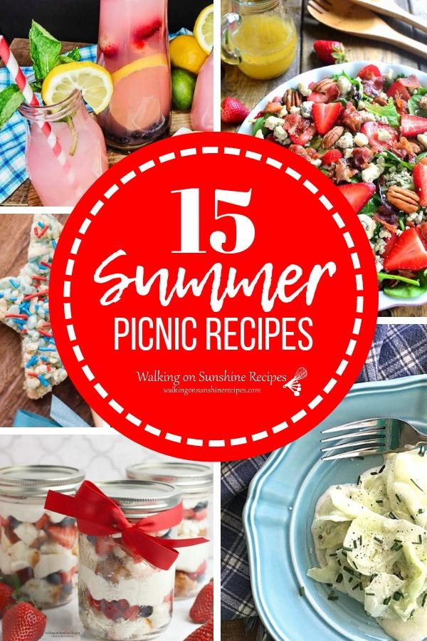 15 Summer Picnic Recipes salads, lemonade, slider sandwiches and desserts.
