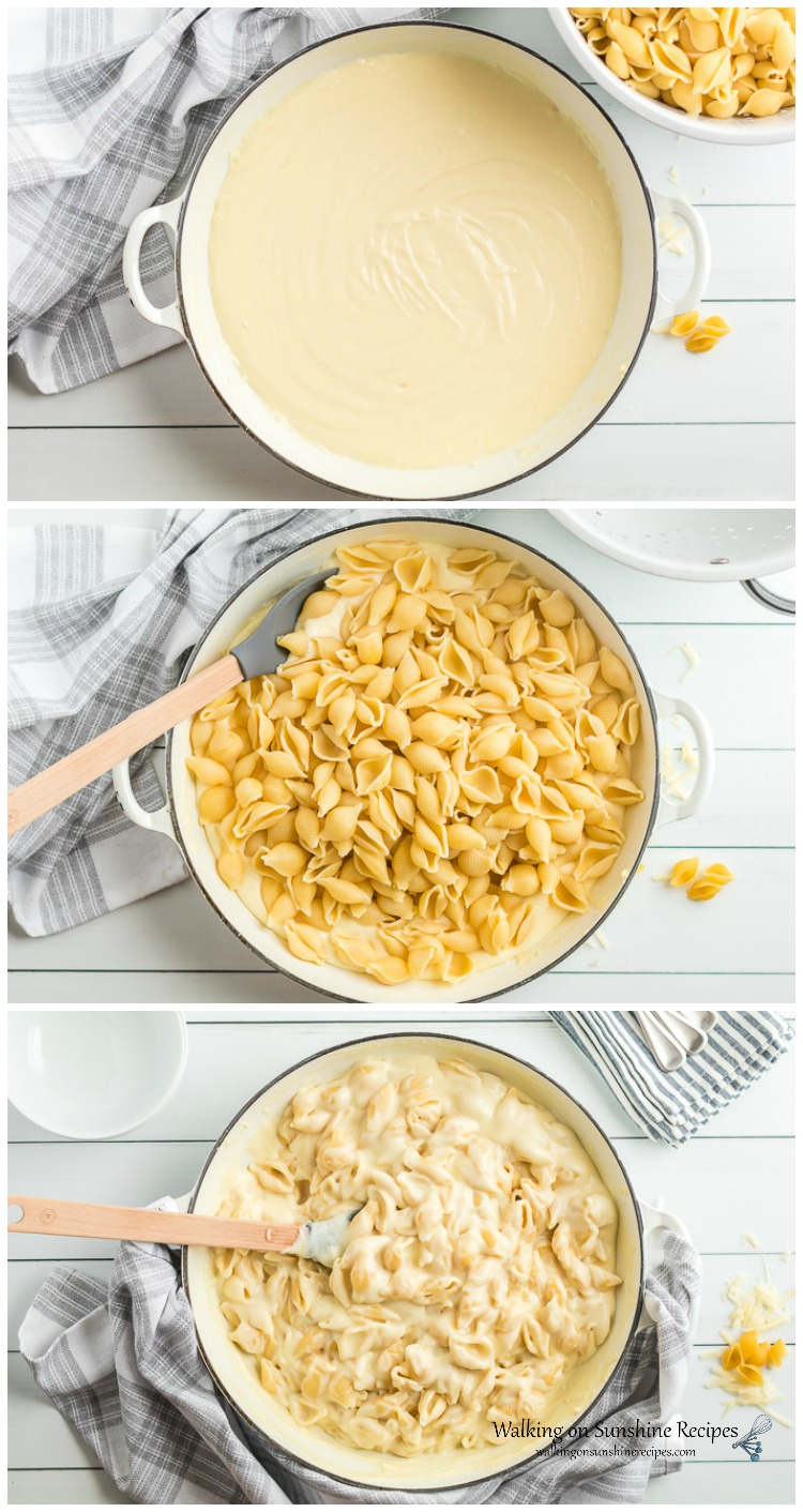 Add pasta shells to cheese sauce for Panera Mac and Cheese Recipe