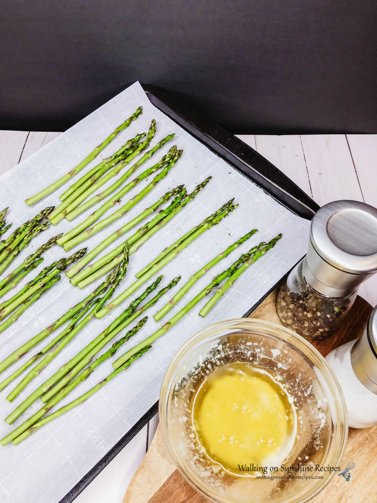 Asparagus on Baking Tray lined with Parchment Paper