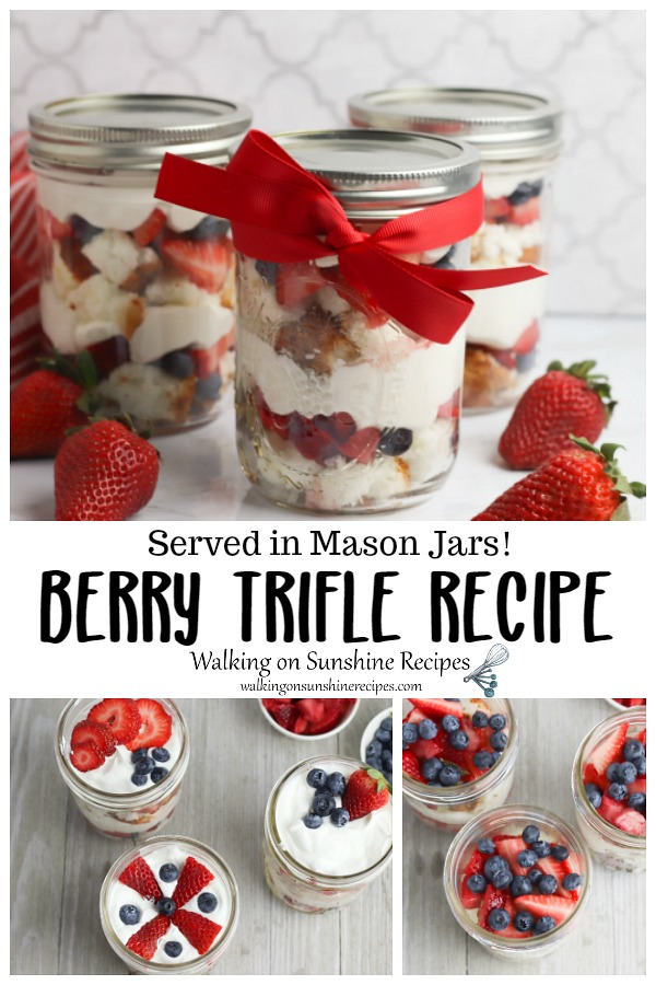 Berry Trifle Recipe served in Mason Jars wrapped in red ribbon