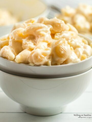 Closeup of Panera Mac and Cheese Copycat Recipe in white bowl