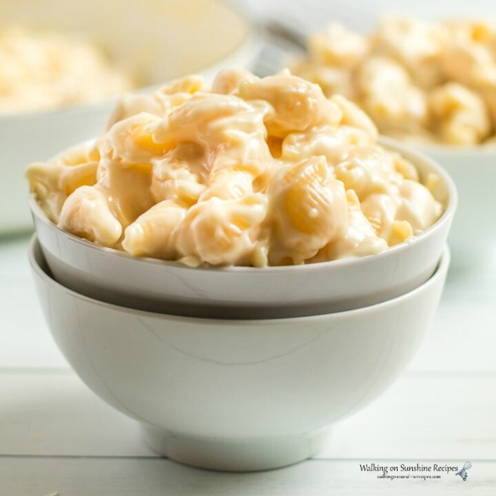 Closeup of Panera Mac and Cheese Copycat Recipe in white bowl