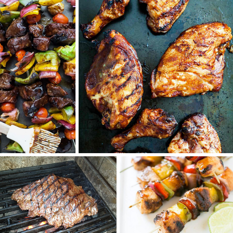 Traditional 4th of July Foods with Barbecue chicken, steak and kabobs.