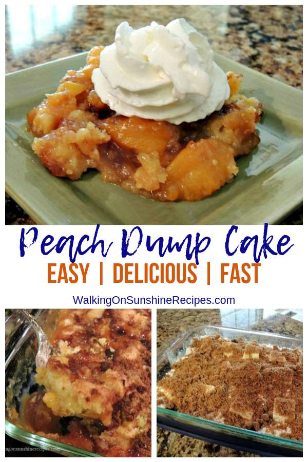 Peach Dump Cake photo collage with before and after baking.