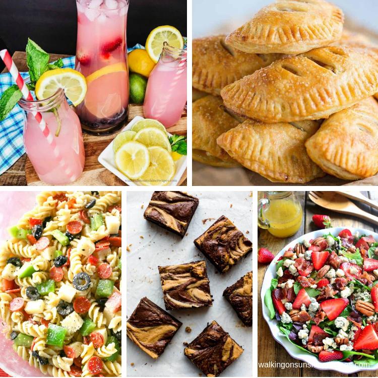 lemonade, apple hand pies, pasta salad and brownies for Summer Picnic Recipes.