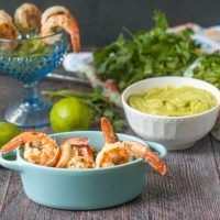 Low Carb Cilantro Lime Shrimp Cocktail - with avocado dipping sauce.