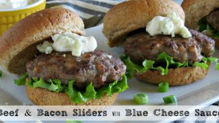 Beef and Bacon Sliders with Blue Cheese Sauce