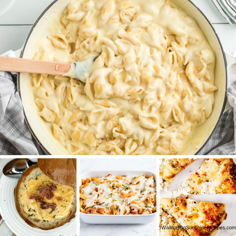 Mac and Cheese, Potato Soup, Baked Ziti, Pizza