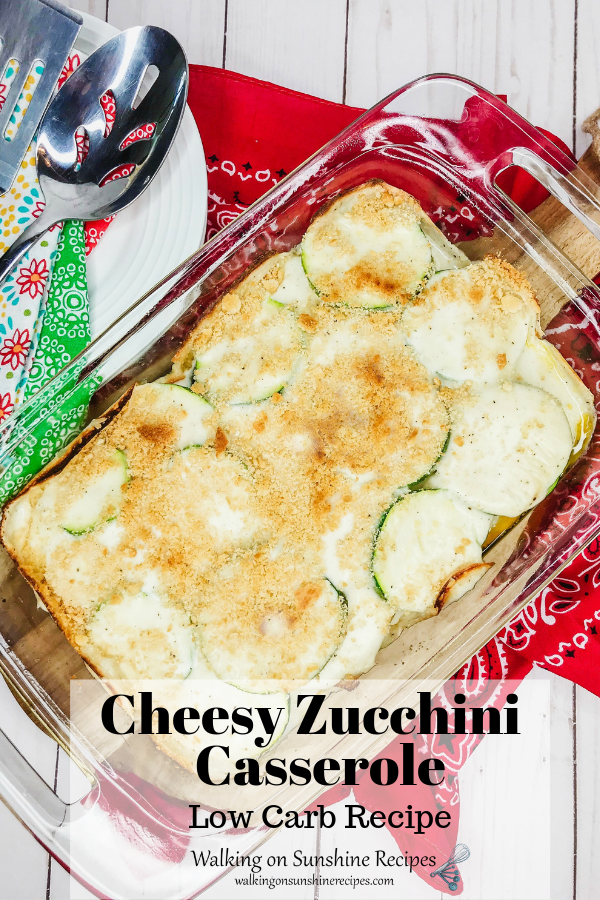 Cheesy Zucchini Casserole with plates and forks.