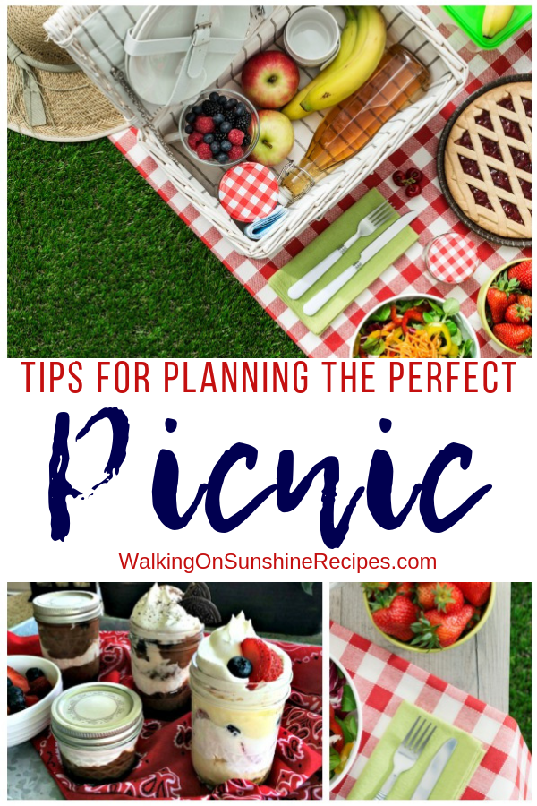 Picnic table set with delicious food for summer.