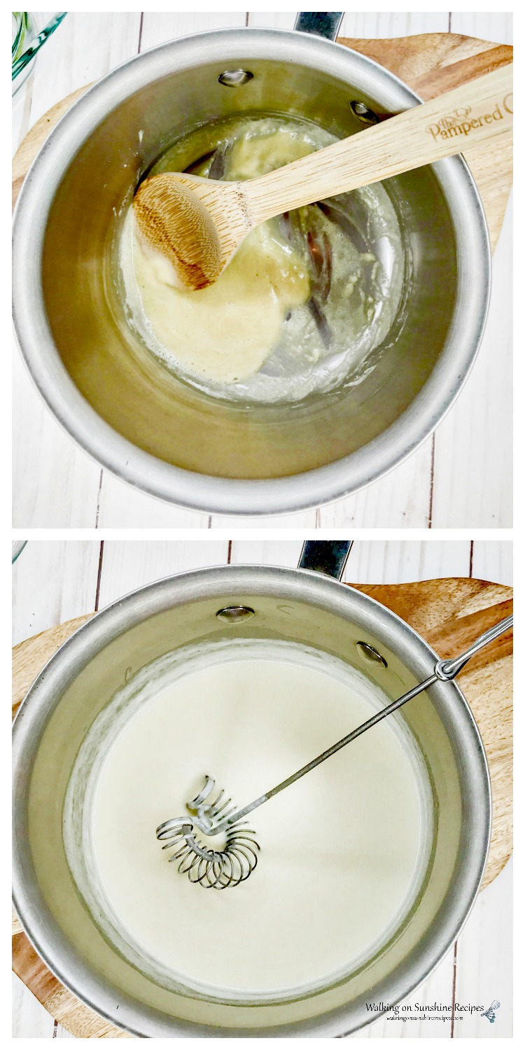 Whisk butter into flour and slow whisk in half and half
