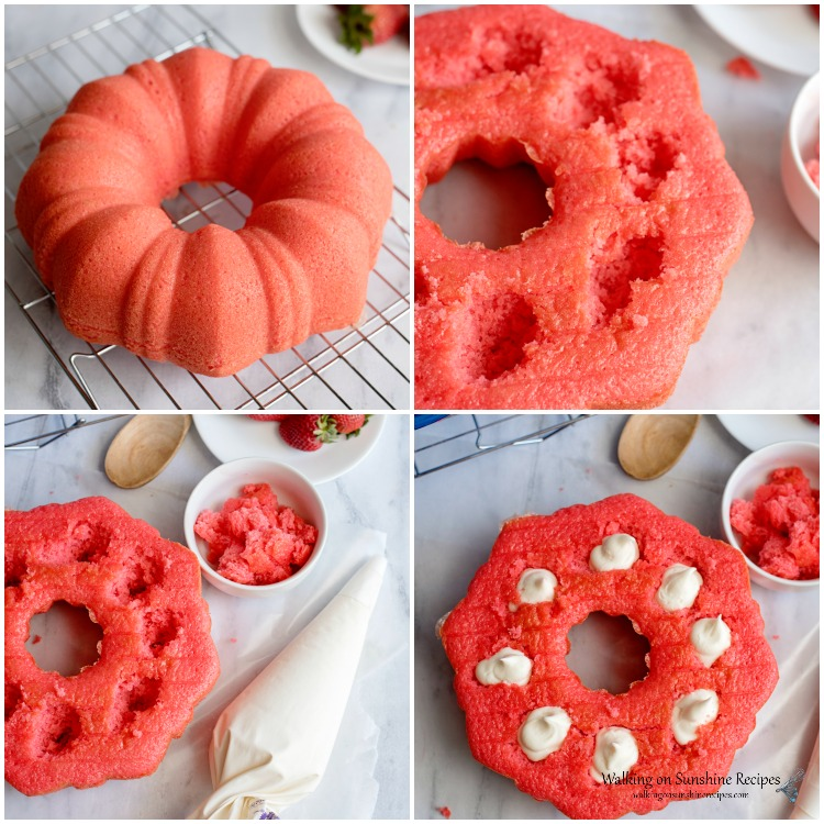 How to Fill the Strawberry Bundt Cake with Cream Cheese Filling