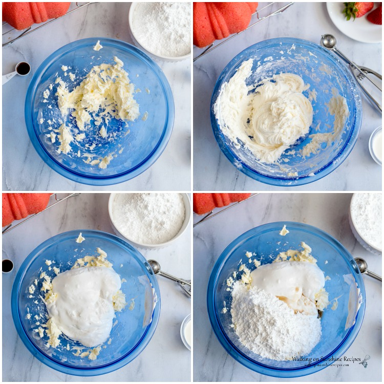 How to make the cream cheese marshmallow fluff icing for Strawberry Bundt Cake