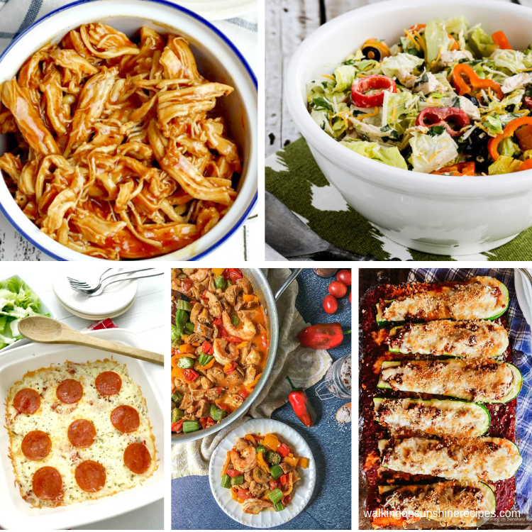 5 recipes featured that are low carb for weekly meal plan