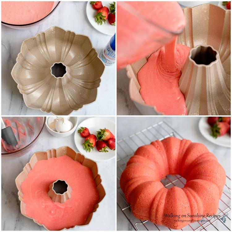 Pour Cake Mix into Bundt Cake Pan