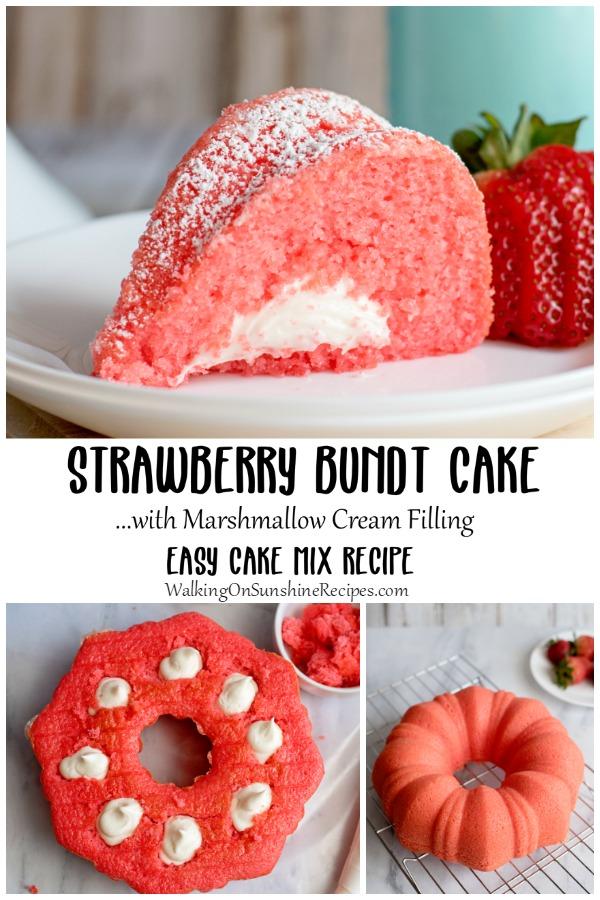 Marshmallow cream filling with Strawberry Bundt Cake