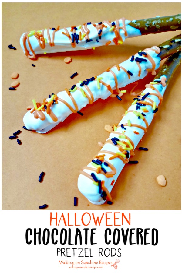 Chocolate Covered Pretzel Rods perfect for Halloween from WOS