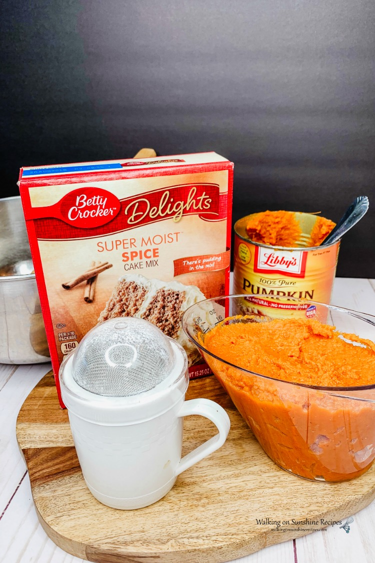 pumpkin bread using cake mix and canned pumpkin.