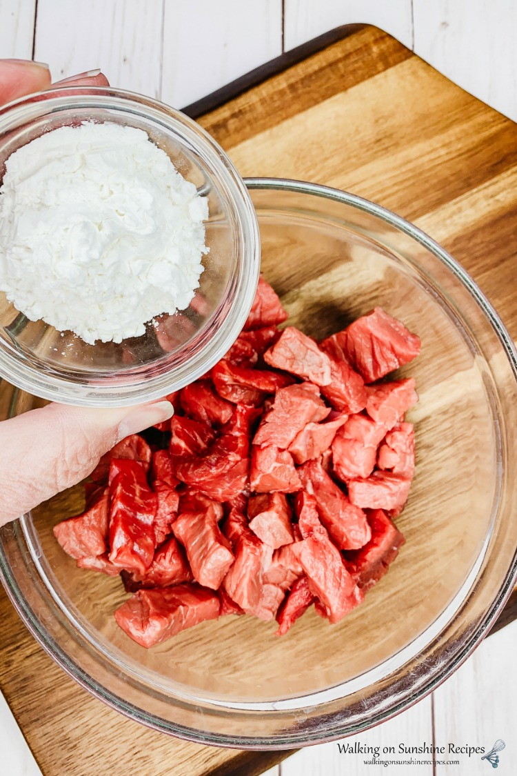 Add cornstarch to beef for Beef Ramen Stir Fry