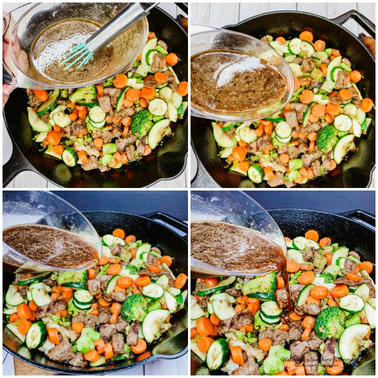 Add sauce to beef and veggies in cast iron pan