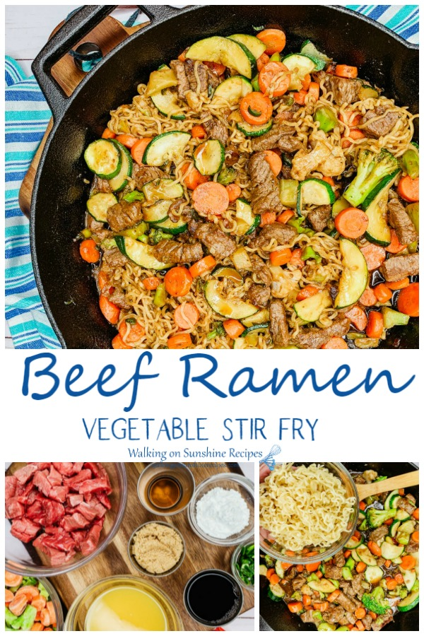 Beef Ramen Vegetable Stir Fry with ingredients and noodles
