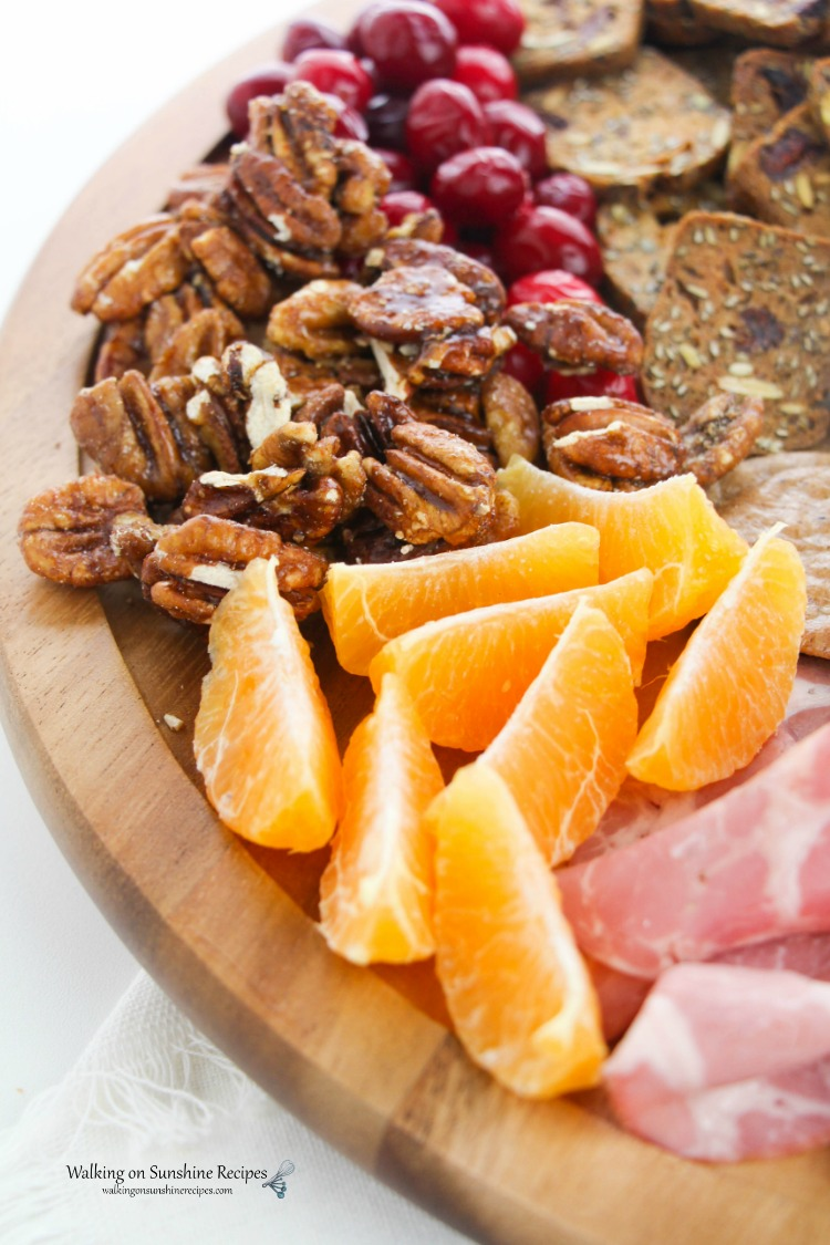 Fruit, Nuts and Cranberries on Cheese Board Platter