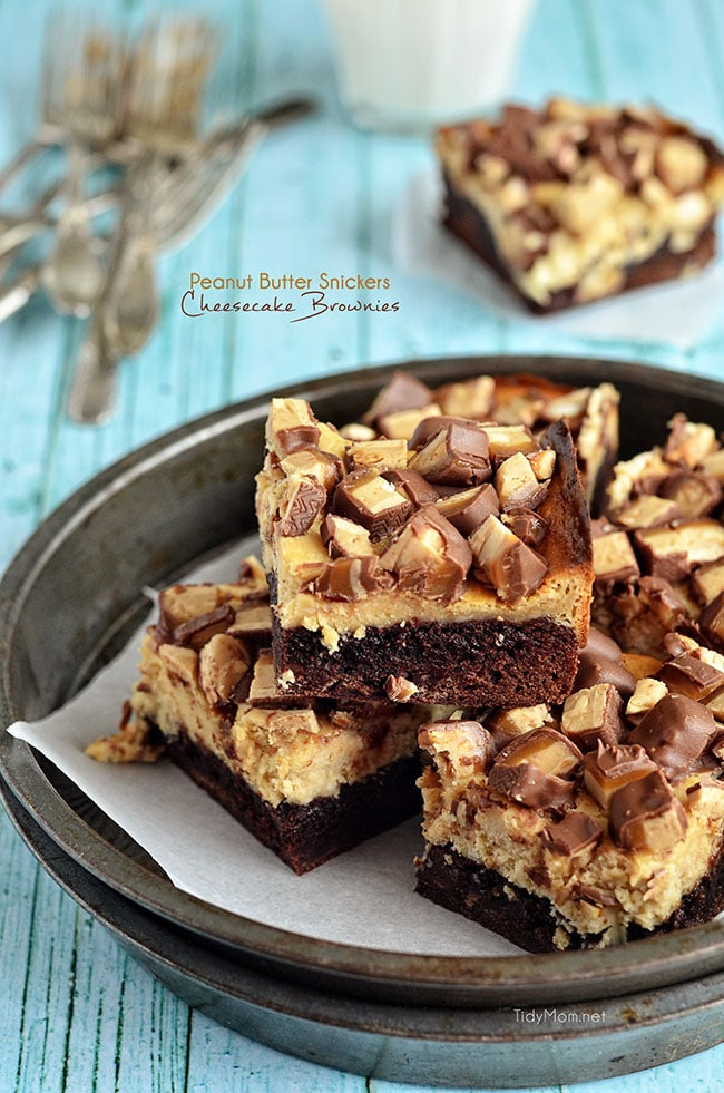 Peanut Butter Snickers Cheesecake Brownies