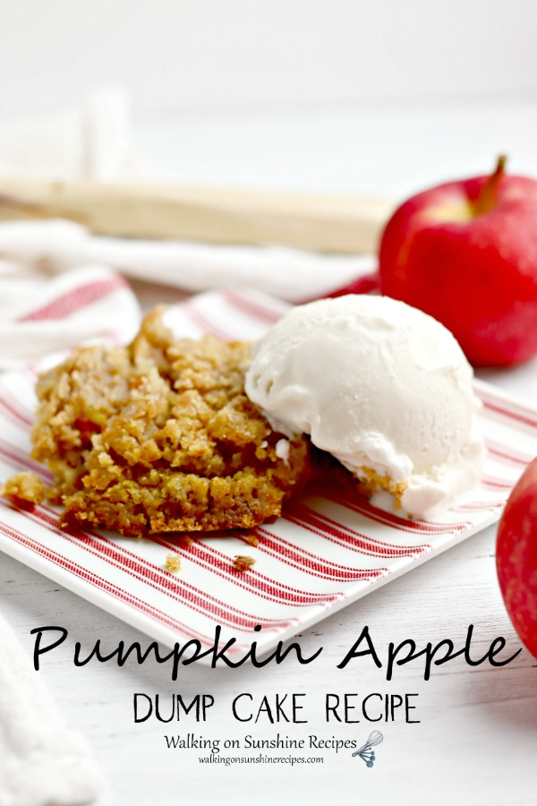 Pumpkin Apple Dump Cake with vanilla ice cream on red striped plate.