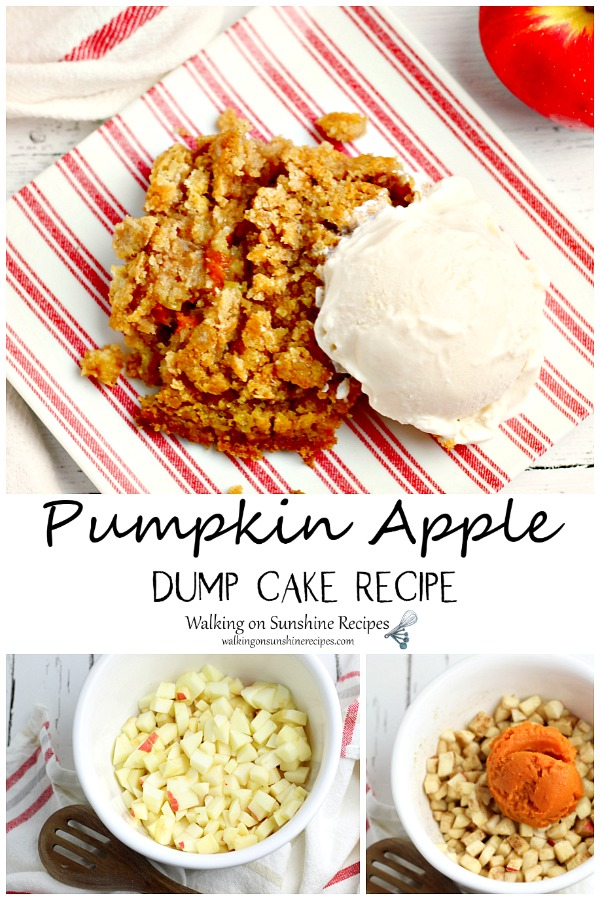 Pumpkin Apple Dump cake cooked and with ice cream alongside a bowl of chopped apples.