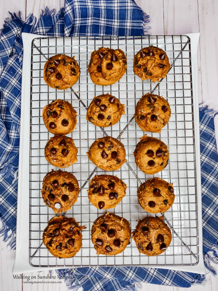 Pumpkin Chocolate Chip Cookies on cooling rack.