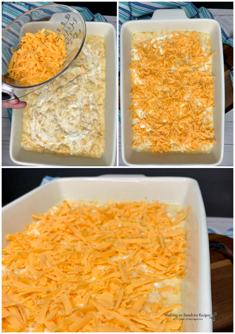 Add cheese to the top of Corn Pudding Casserole