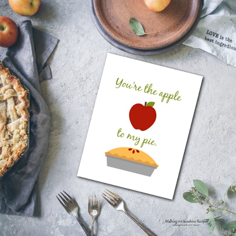 Apple Pie Printable for Thanksgiving.